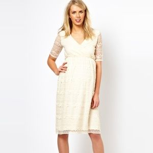 ASOS Maternity Dress Cream Lace - SZ. 6